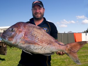 James Benge with his 13.44 kg snapper caught at 'snapper rock'.